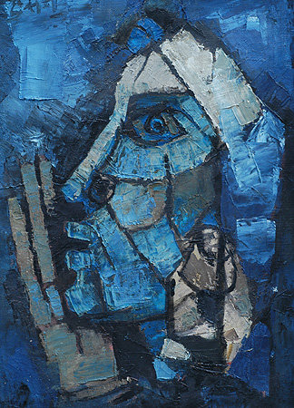 Mf husain blue_head
